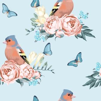 Fondo transparente de pájaros y flores vintage con lunares