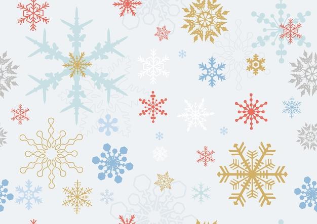 Fondo transparente y papel tapiz de copo de nieve de colores en estilo de colores vintage sobre fondo azul claro