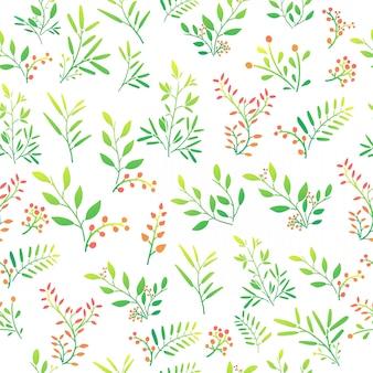Fondo transparente con patrón floral de ramitas, bayas y hojas. vector