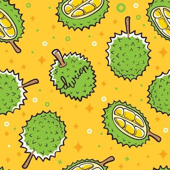 Fondo transparente de patrón de frutas tropicales durian