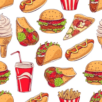 Fondo transparente con varias comidas rápidas