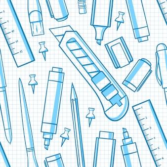 Fondo transparente con varios artículos de papelería. cuchillo de papelería, tijeras, marcador