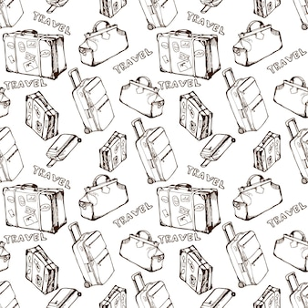 Fondo transparente de viaje con bolsas de viaje y maletas patrón de vacaciones de verano dibujado a mano
