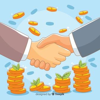 Fondo trato de negocios dibujado a mano