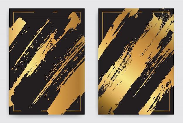 Fondo de trazo de pincel oro y negro