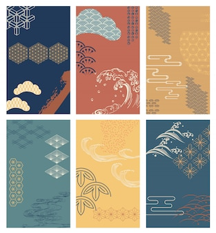 Fondo de trazo de pincel con patrón japonés. elementos abstractos
