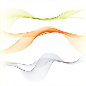 Fondo con tres abstractas y elegantes formas onduladas