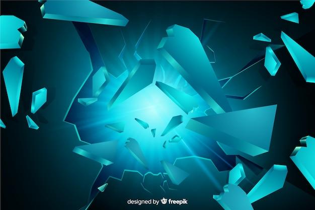 Fondo tridimensional de explosión con luz