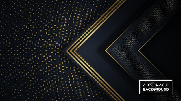 Fondo tridimensional oscuro y dorado