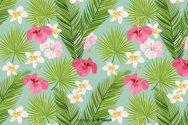 Fondo tropical 2d con patrón de flores y hojas