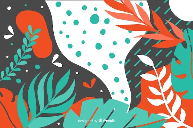 Fondo tropical abstracto dibujado a mano