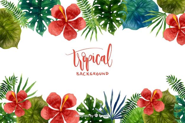 Fondo tropical en acuarela