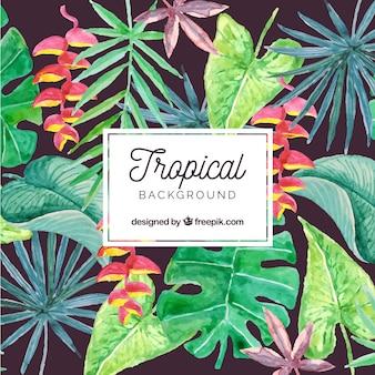 Fondo tropical adorable en acuarela