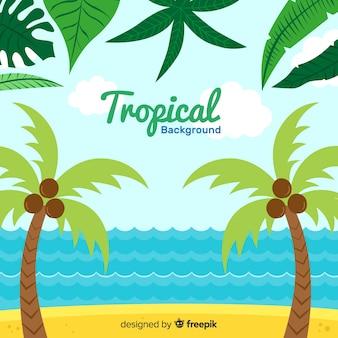 Fondo tropical adorable dibujado a mano