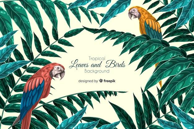 Fondo tropical con animales