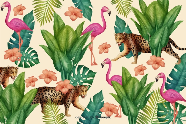 Fondo tropical con animales