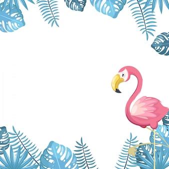 Fondo tropical con aves y plantas.