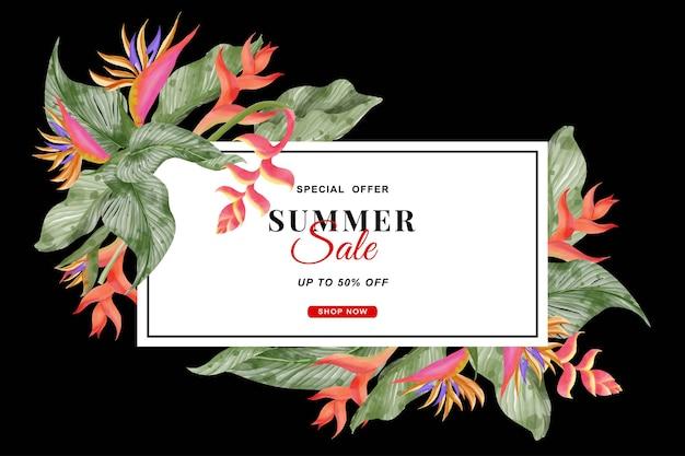 Fondo tropical de banner de verano con flores de strelitzia y hojas tropicales