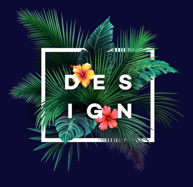 Fondo tropical brillante con plantas de la selva. patrón exótico con hojas de palmera.