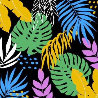 Fondo tropical con coloridas hojas y plantas