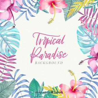 Fondo tropical colorido en acuarela