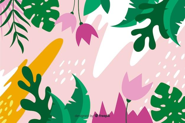 Fondo tropical con composición de plantas y hojas en diseño de estilo plano.