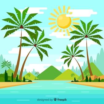 Fondo tropical con paisaje