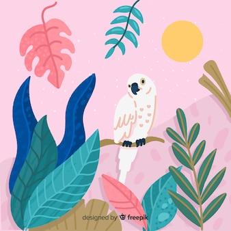 Fondo tropical con dibujado a mano