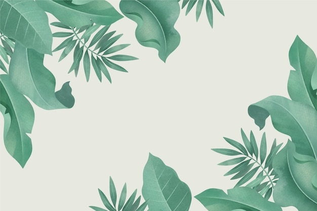 Fondo tropical con diferentes hojas y espacio vacío