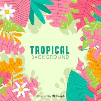 Fondo tropical en diseño plano