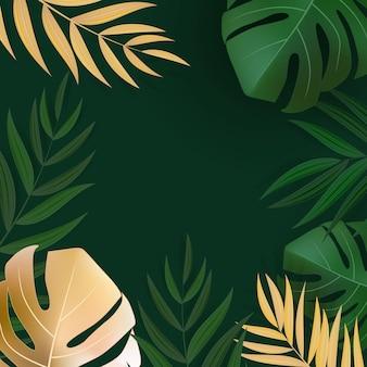 Fondo tropical de hoja de palma verde y oro realista natural.