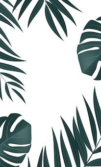Fondo tropical de hoja de palmera realista natural.