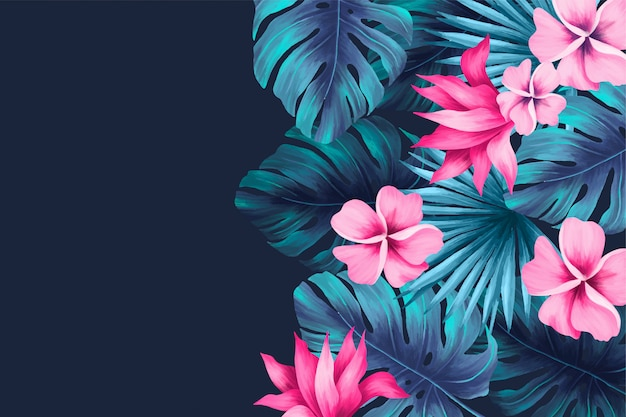 Fondo tropical con hojas y flores.