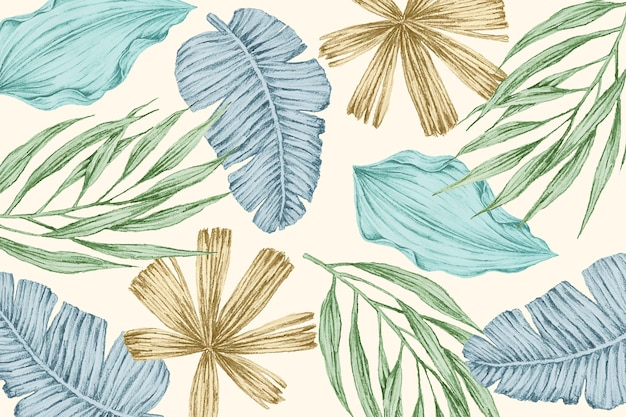 Fondo tropical con hojas vintage