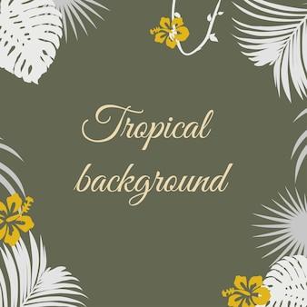 Fondo tropical con hojas