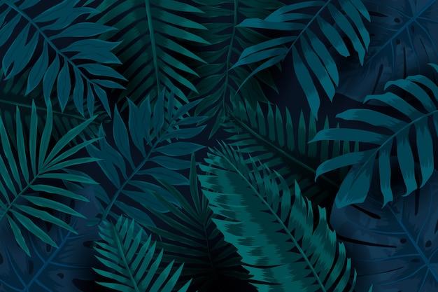 Fondo tropical oscuro de hojas naturales