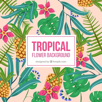 Fondo tropical de piñas y hojas