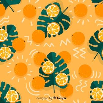 Fondo tropical plano con frutas