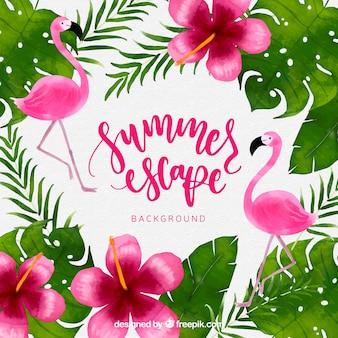 Fondo tropical con plantas y flamencos de acuarela