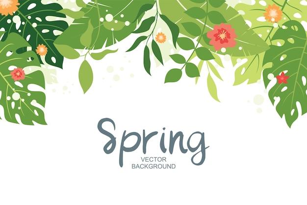 Fondo tropical con plantas, hojas y composición floral, estilo simple y moderno.