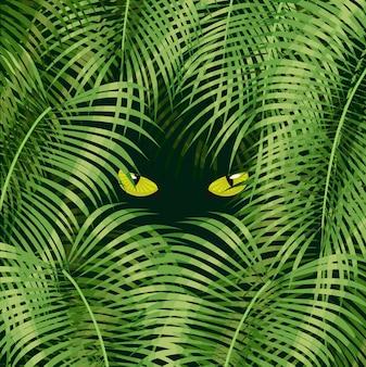 Fondo tropical con plantas de selva.