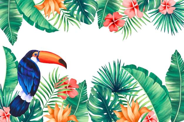 Fondo tropical con tucán y hojas exóticas.