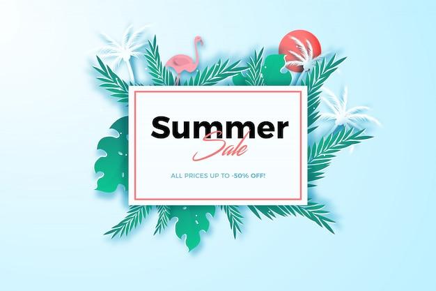Fondo tropical de verano en estilo de papel