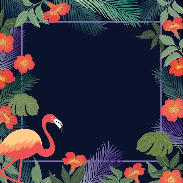 Fondo tropical de verano con flamencos y hojas exóticas.