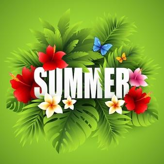 Fondo tropical de verano de hojas de palmera y flores tropicales