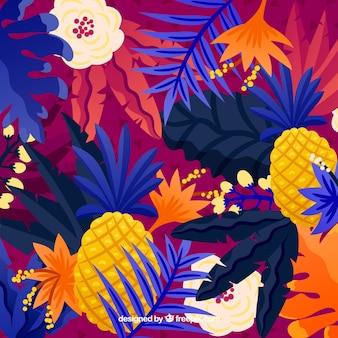 Fondo tropical de verano con plantas coloridas y piñas