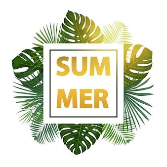 Fondo tropical de verano verde con exóticas hojas de palma y plantas.