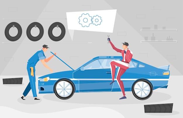 Fondo de tuning de coche con símbolos de coche deportivo planos