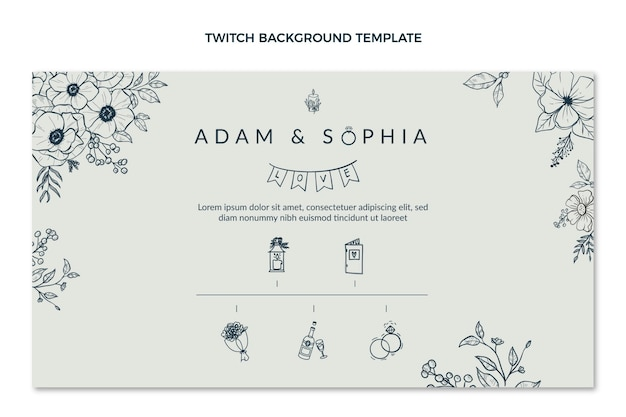 Fondo de twitch de boda dibujado a mano