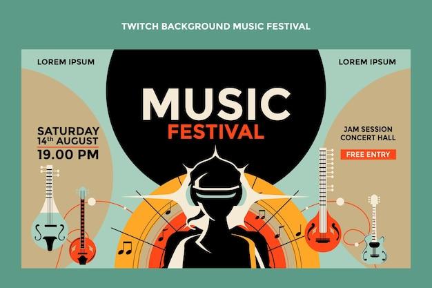 Fondo de twitch colorido festival de música dibujado a mano